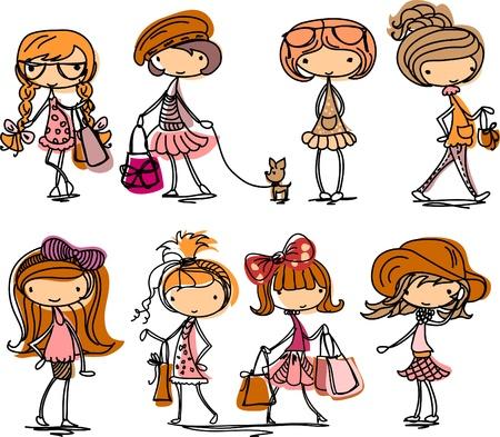 Dessin animé fashion girl Vecteurs