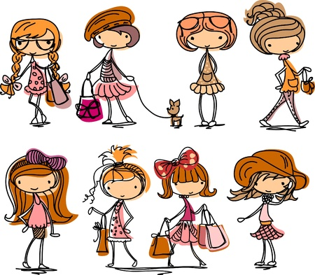 teenagers laughing: Fashion girl cartoon