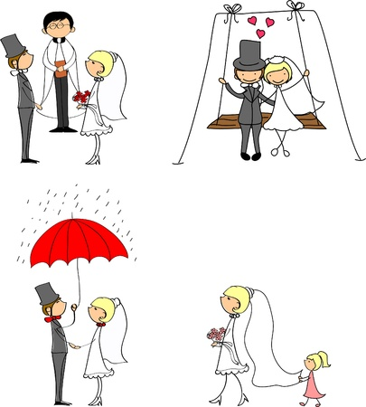 wedding doodle set of bride and groom  Vector