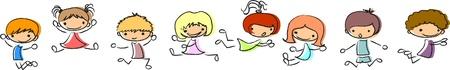 deportes caricatura: jugando y saltando los niños lindos Vectores