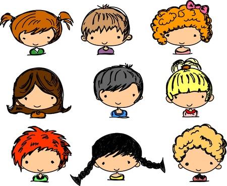 animated boy: Cartoon cute faces of children