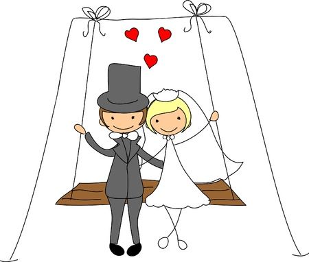 the bride and groom on a swing  Vector