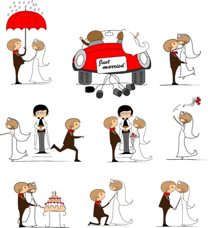 enamorados caricatura: conjunto de fotos de la boda, la novia y el novio en el amor