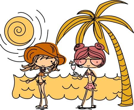 Cartoon girls on the beach  Vector