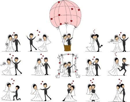 웨딩 사진, 신부와 신랑을 사랑합니다 일러스트
