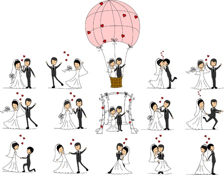 Wedding pictures, love the bride and groom  Vector