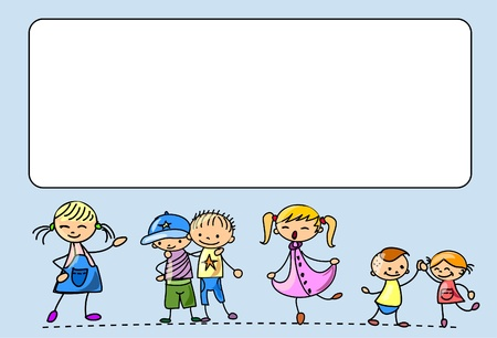 european community: Happy kids dance, sing, jump, run   Illustration