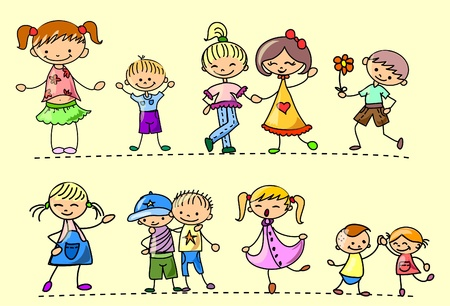 european community: Happy kids dance, sing, jump, run