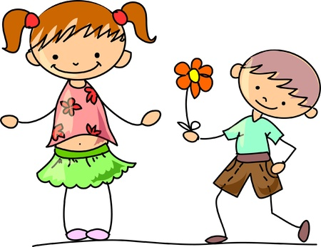 country flowers: Happy kids