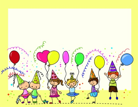 funny childrens birthday party  Vector