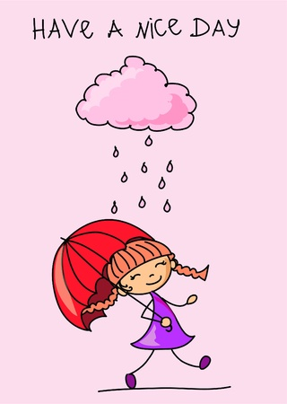 girl with umbrella  Stock Vector - 11498969