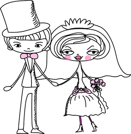 bride veil: cartoon bride and groom  Illustration