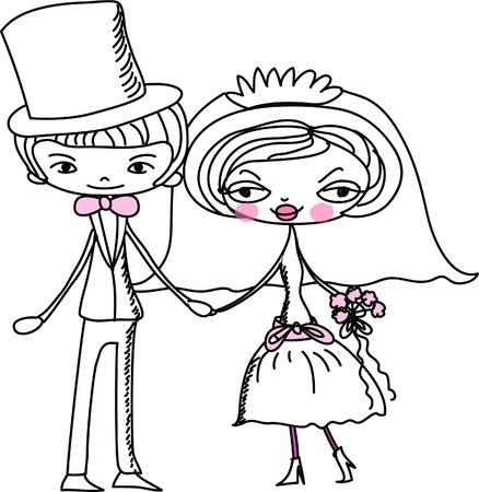 bridal veil: cartoon bride and groom  Illustration