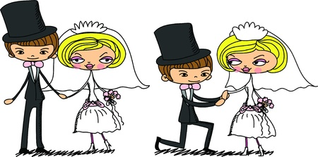 woman throwing: cartoon bride and groom  Illustration