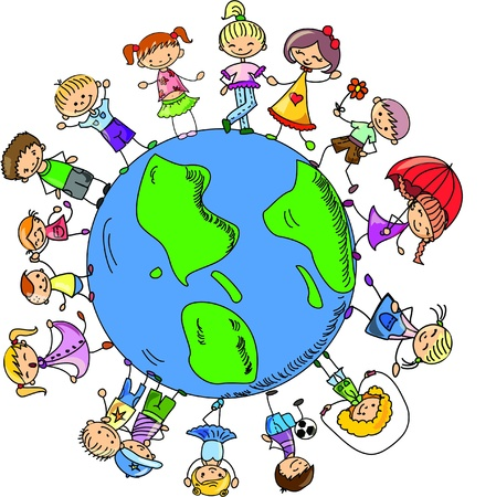 cartoon cute children holding hands around  Illustration