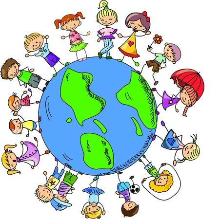 animated action: cartoon cute children holding hands around  Illustration