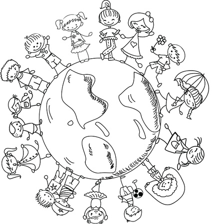 cute children holding hands around the globe Vector