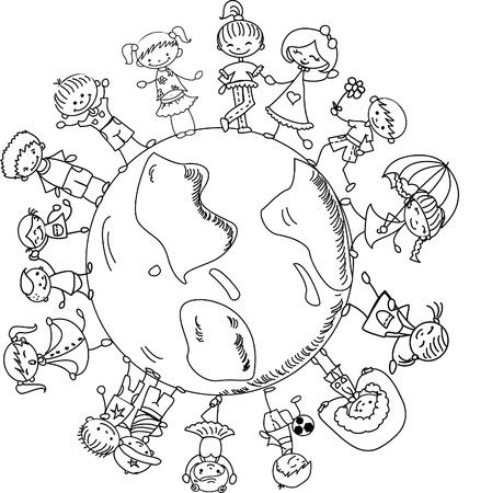 erde h�nde: niedlichen Kinder, die H�nde um den Globus Illustration