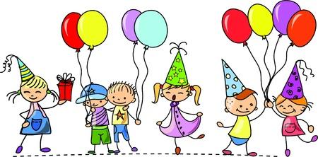 feliz cumplea�os caricatura: los ni�os divertidas de la fiesta de cumplea�os
