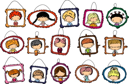 clip art draw: portraits of children in the frame