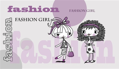 Trendy girl, background  Vector