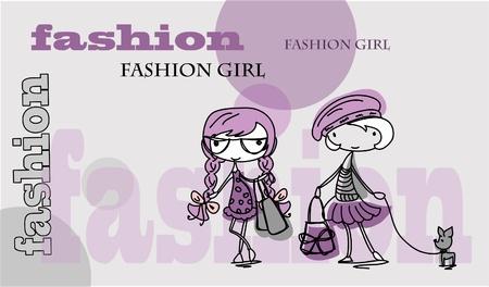 summer dog: Fashion cartoon girl  Illustration
