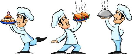 chef caricatura: dibujos animados del chef Vectores