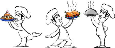 gourmet dinner: cartoon chef