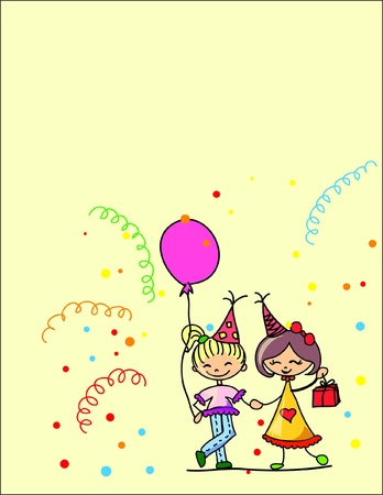 cartoon kids celebrate birthday  Stock Vector - 11499065