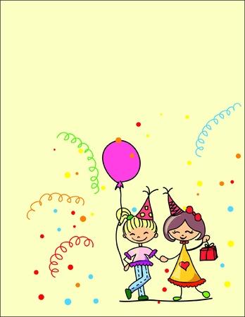 little girl dancing: cartoon kids celebrate birthday