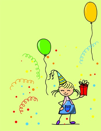 tanzen cartoon: Cartoon Kinder feiern Geburtstag Illustration