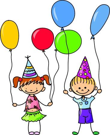 teenagers laughing: cartoon kids celebrate birthday