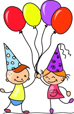 cartoon kids celebrate birthday Stock Vector - 11499059