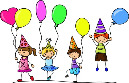 cartoon kids celebrate birthday  Vector