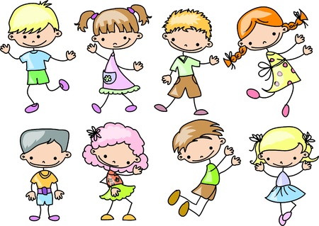niños danzando: felices los niños de dibujos animados