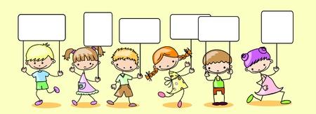 Children hold a banner Stock Vector - 11499139