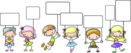 preschool child: Children hold a banner  Illustration