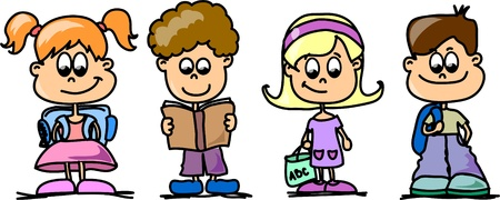 children school clip art: Cartoon kids Illustration