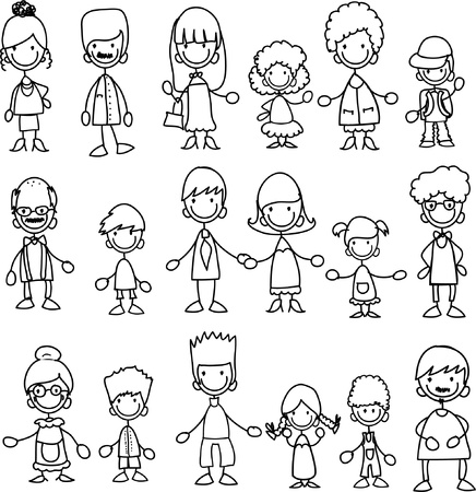 happy family isolated: Doodle members of large families
