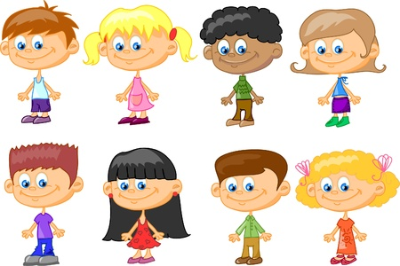 hair style set: cartoon children  Illustration
