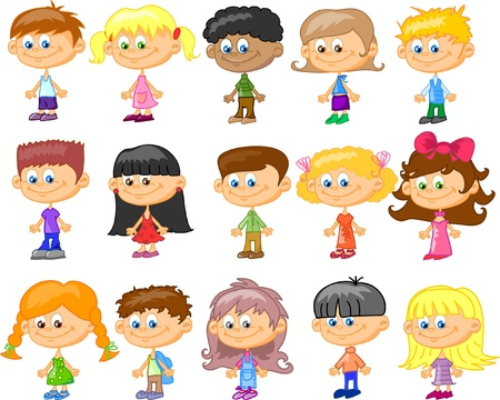 diverse group: cartoon children, students