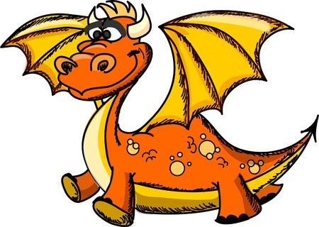 Cartoon cute dragon, a symbol 2012  Vector
