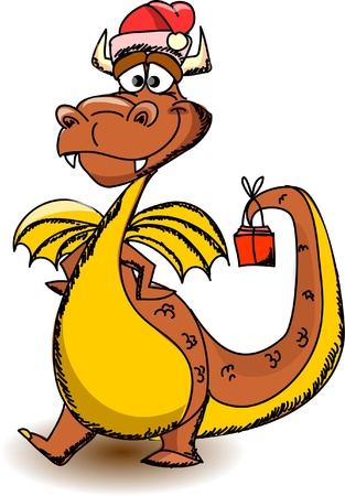 Cartoon cute dragon, a symbol 2012  Vector