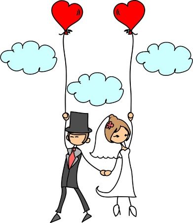 cartoon wedding picture  Vector