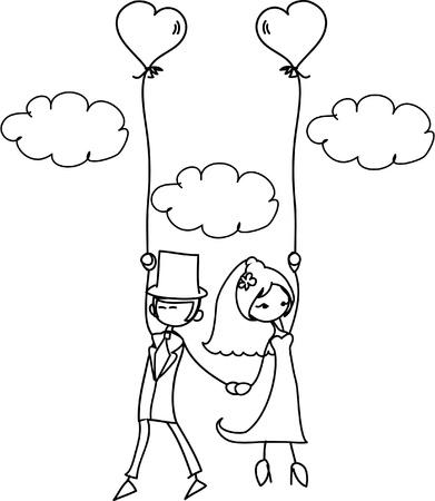 proposal of marriage: cartone animato di nozze fotografia