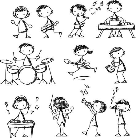 guitarristas: conjunto de Doodles M�sica Vectores