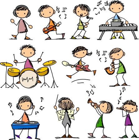 trompeta: conjunto de Doodles M�sica Vectores