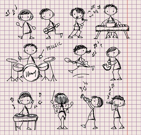 flauta: conjunto de Doodles M�sica Vectores