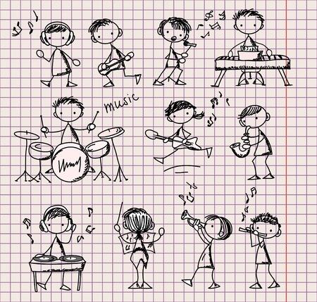 flet: zestaw Doodles Muzycznych Ilustracja