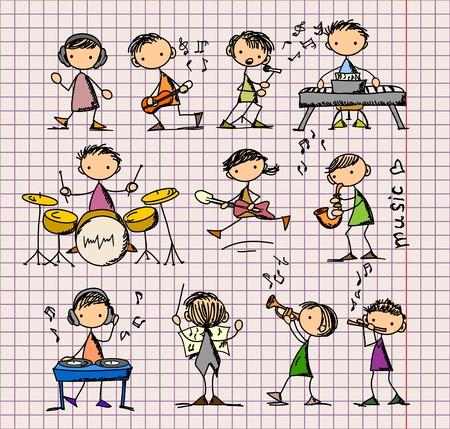 popular music concert: serie di Doodles Musica Vettoriali